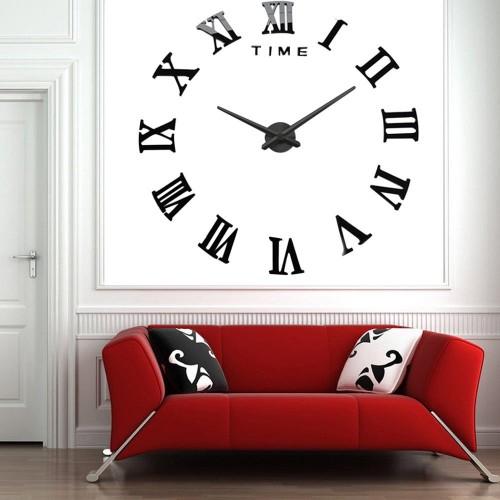 Большие зеркальные часы Римские цифры Black