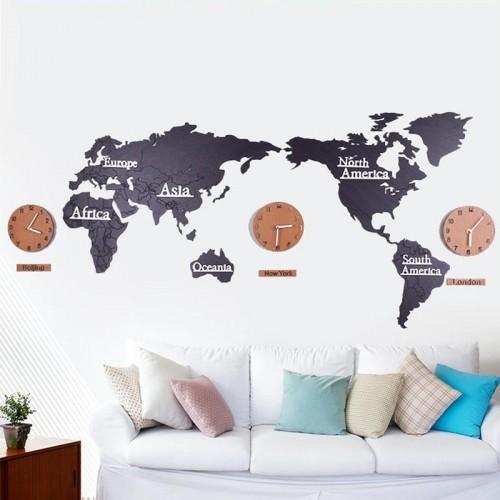 Часы-карта мира World Map Графит