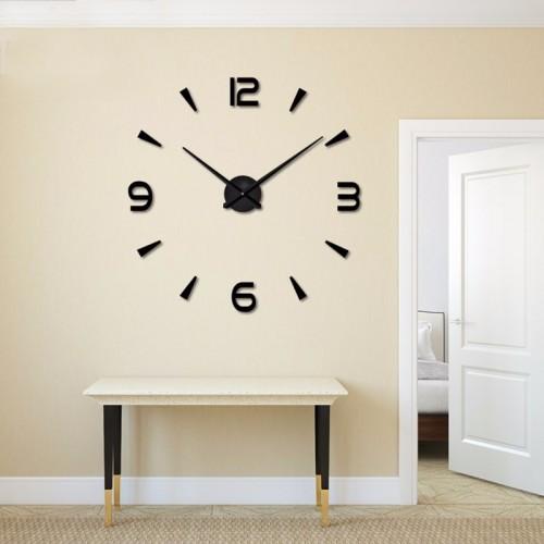 Большие настенные часы Арабские/полосы Black