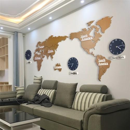Часы-карта мира World Map Дерево