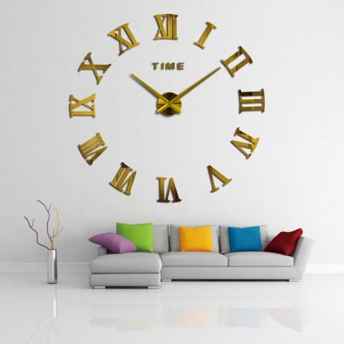 Большие зеркальные часы Римские цифры Gold