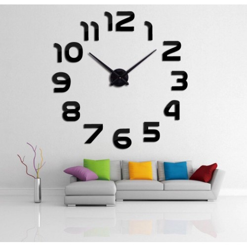 Большие часы на стену Арабские цифры Black / Великий годинник на стіну Арабські цифри Black