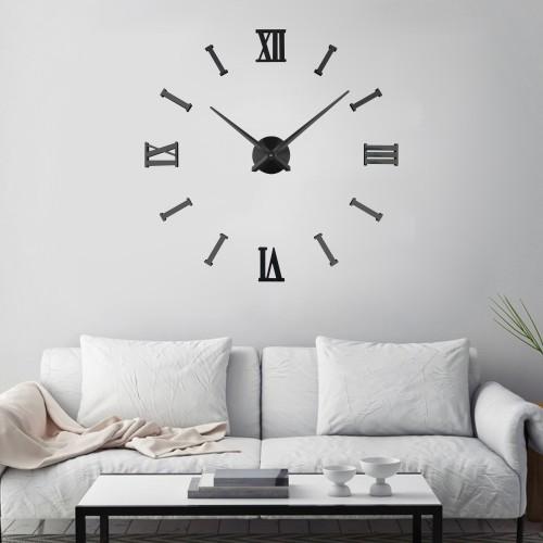 Интерьерные большие часы Римские/полосы 2018 Black