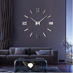 Интерьерные большие часы Римские/полосы 2018 Silver