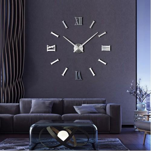 Интерьерные большие часы Римские/полосы 2018 Silver / Інтер'єрний великий годинник Римські / смуги 2018 Silver