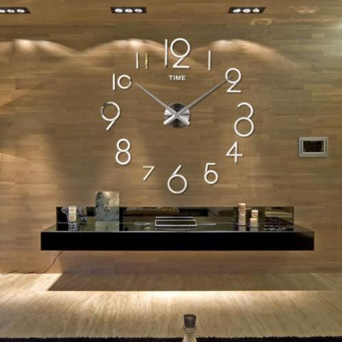Большие 3D-часы с цифрами 2017 Silver
